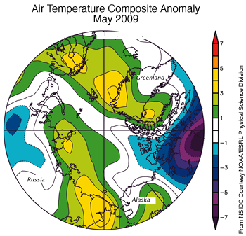 map with air temp anomalies in colors