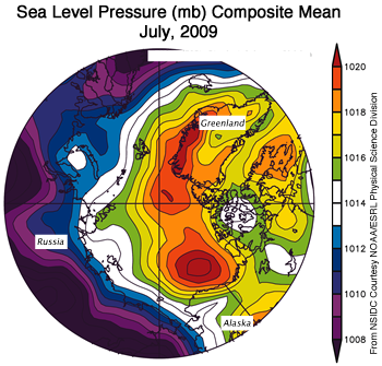 map of arctic showing sea level pressure and atmospheric circulation patterns