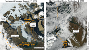 MODIS satellite image of Northwest passage