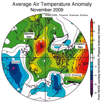 figure 5: air temperature map of arctic for november