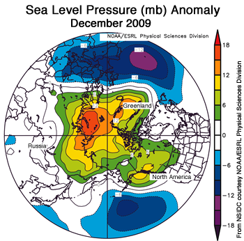 figure 5: air pressure map of arctic for Dec 2009
