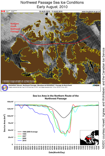 map showing nw passage and current ice conditions