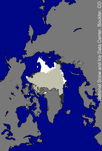 comparison map showing ice extent in 2010 and 2007