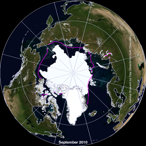 two globes side by side with sea ice extent. click for animation