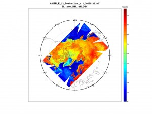 Sample Matlab plot of AMSR-E 12km Sea Ice
