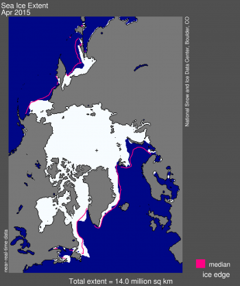 Figure 1. Arctic sea ice extent for April 2015 was 14.0 million square kilometers (5.0 million square miles).