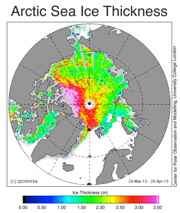 Figure 4. This map shows sea ice thickness in meters in the Arctic Ocean from March 29, 2015 to April 25, 2015. ||Credit: Center for Polar Observation and Modelling, University College London|  High-resolution image