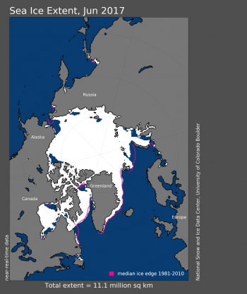 Figure 1. Arctic sea ice extent for June 2017 averaged 11.06 million square kilometers (4.27 million square miles).