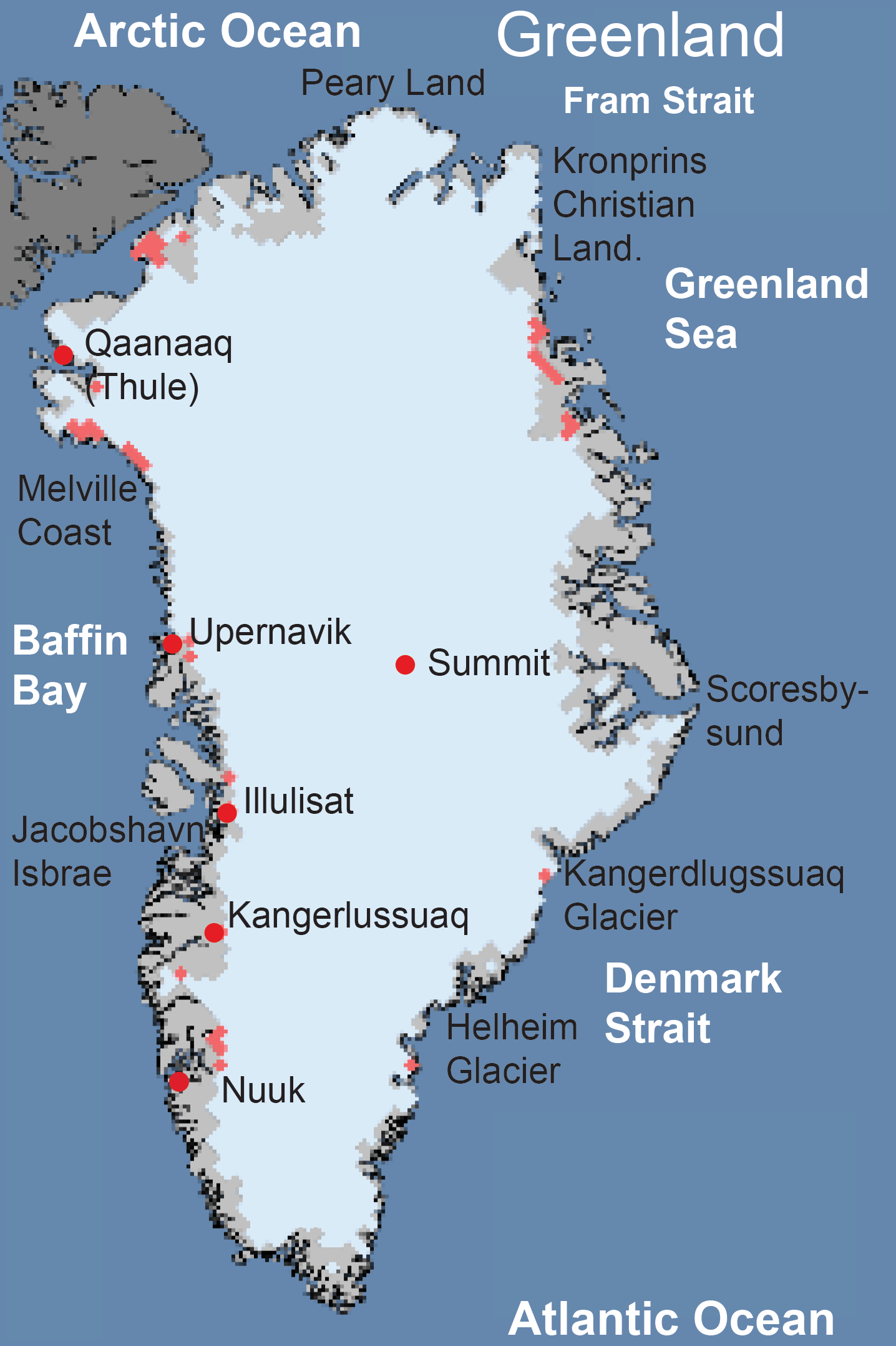 Greenland ice sheet today surface melt data presented by nsidc greenland locator map gumiabroncs Gallery