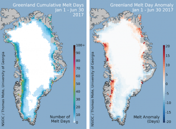 Cumulative and anomaly melt days