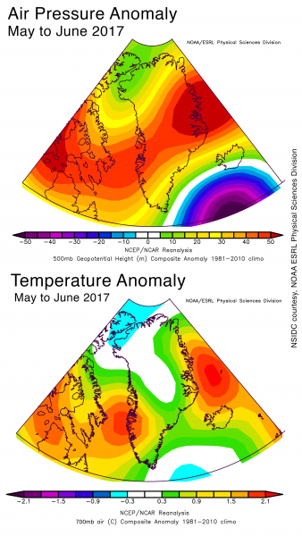 Air pressure and temperature anomaly charts