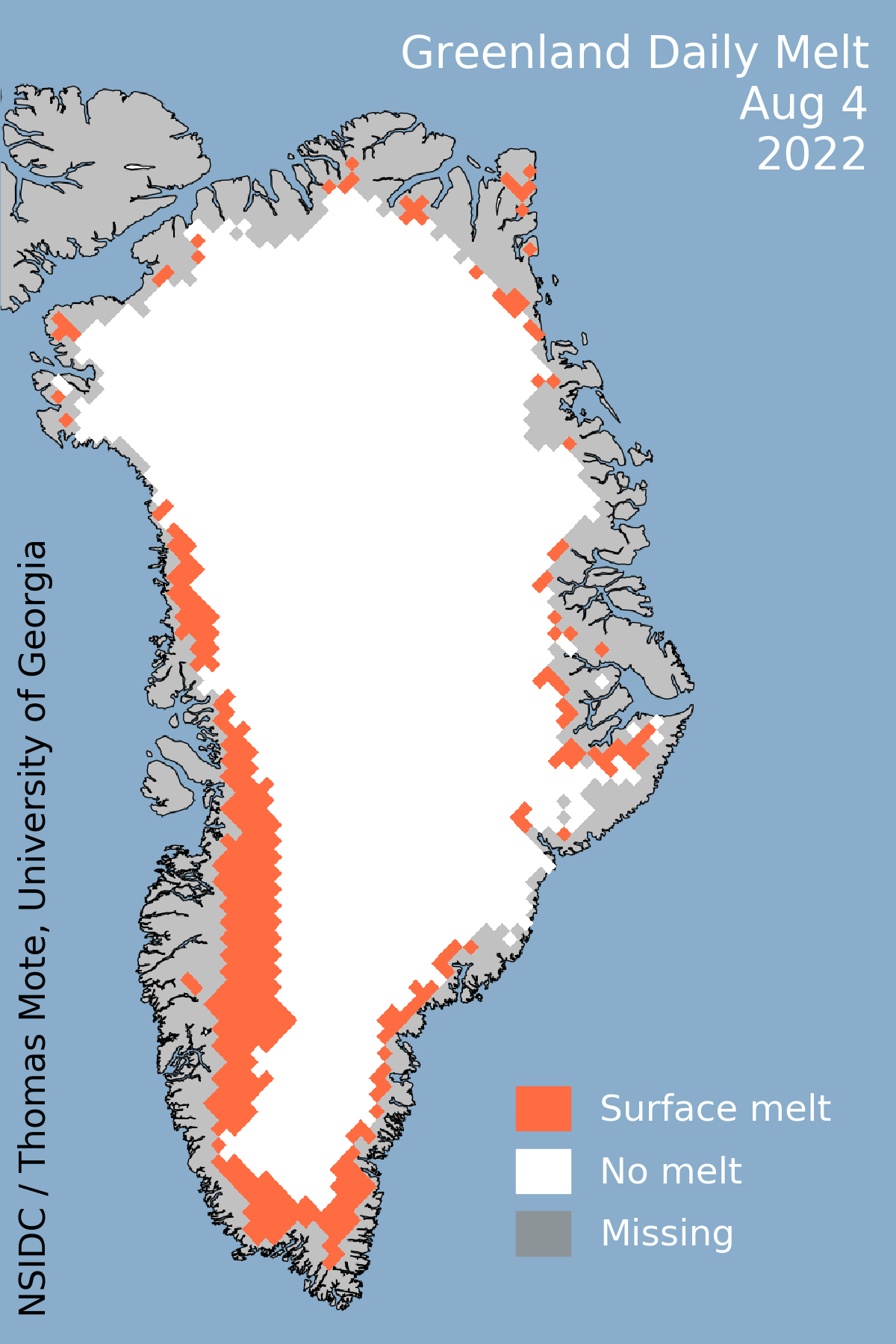 Greenland Ice Sheet Today Surface Melt Data Presented By NSIDC - Map of us after ice caps melt