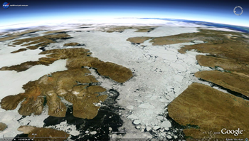 View of Arctic from above showing ice age
