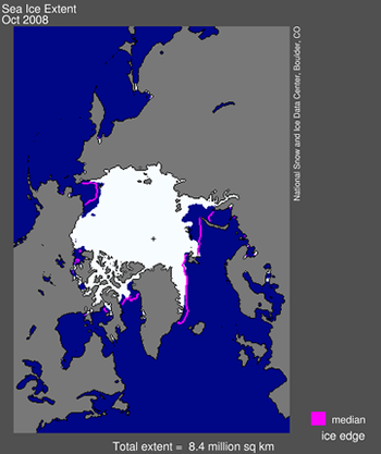 Map of sea ice from space, showing sea ice, continents, ocean