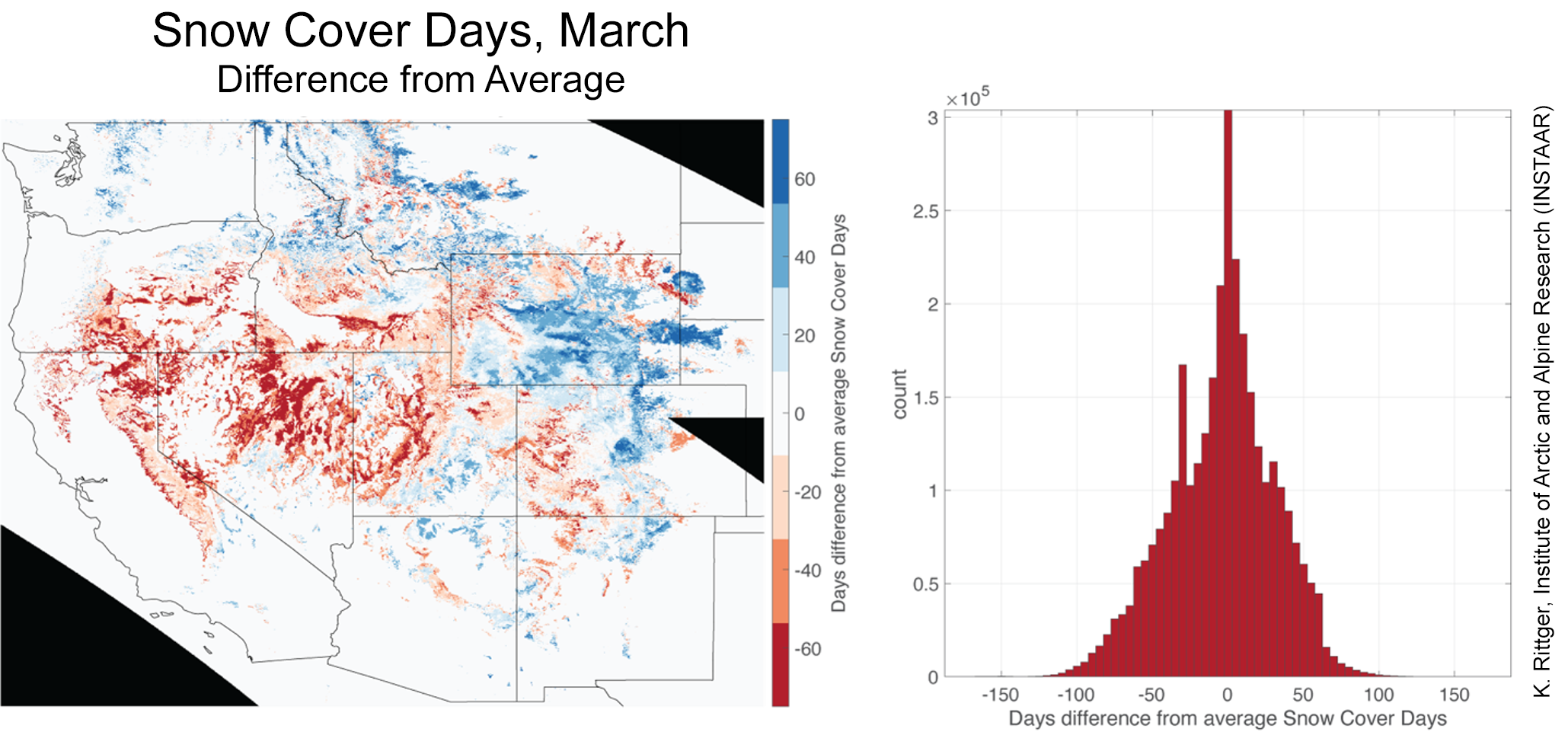 Snow Cover Days, March as difference from average