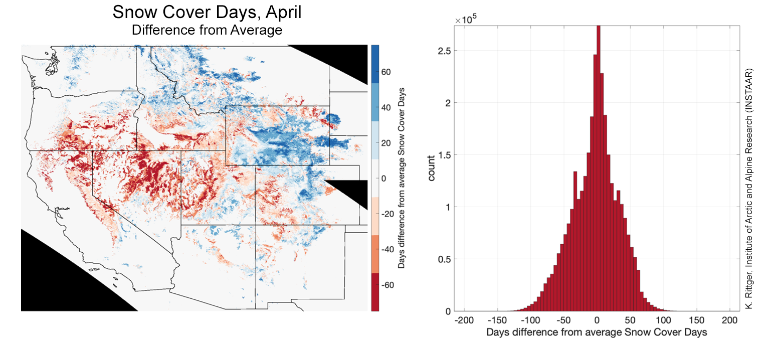 Snow cover days on April 30, 2020 as a difference between 2020 and the 2001 and 2019 average at 1,200 meters