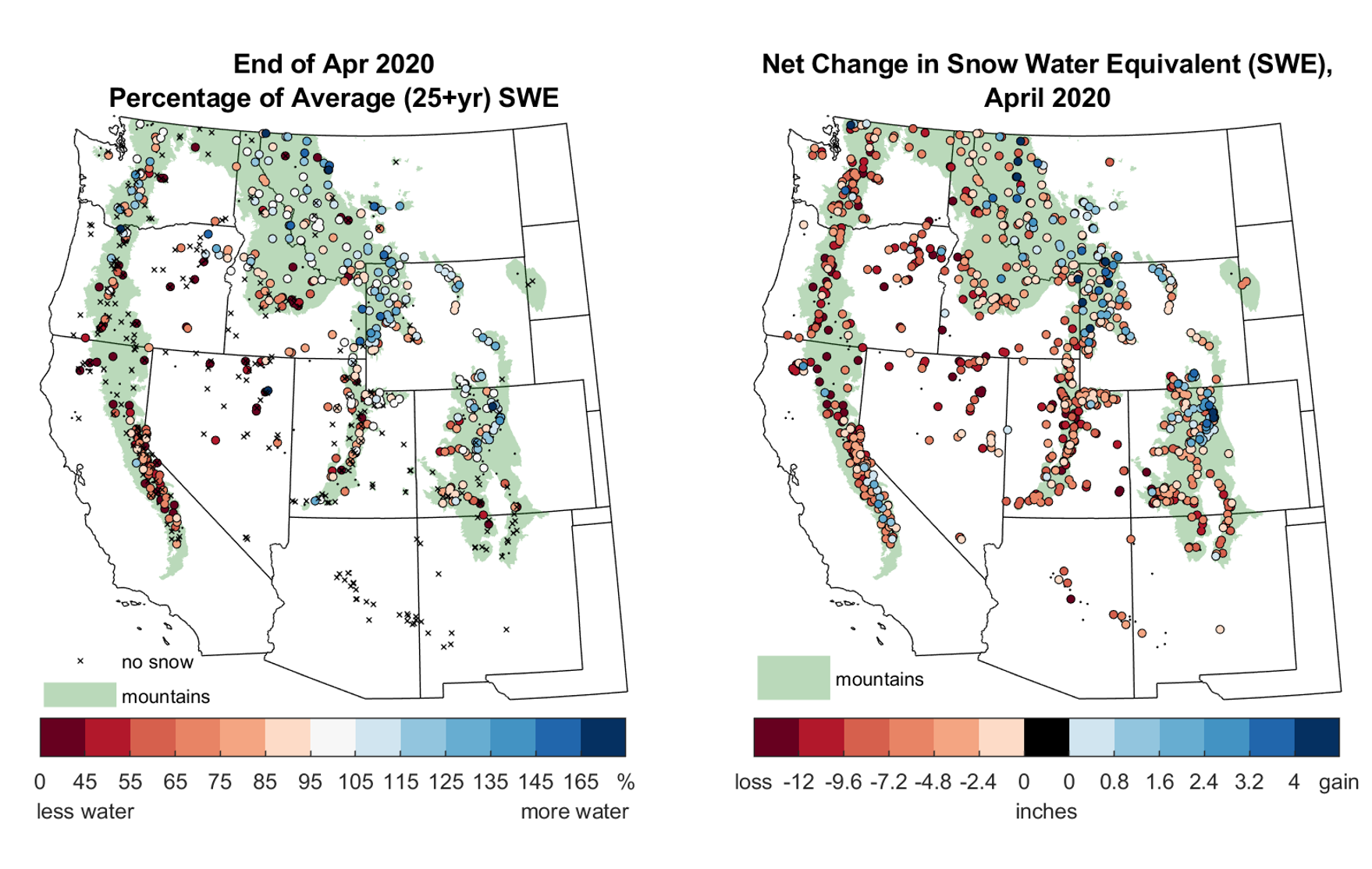 Snow water equivalent (SWE) at monitoring sites in Western United States