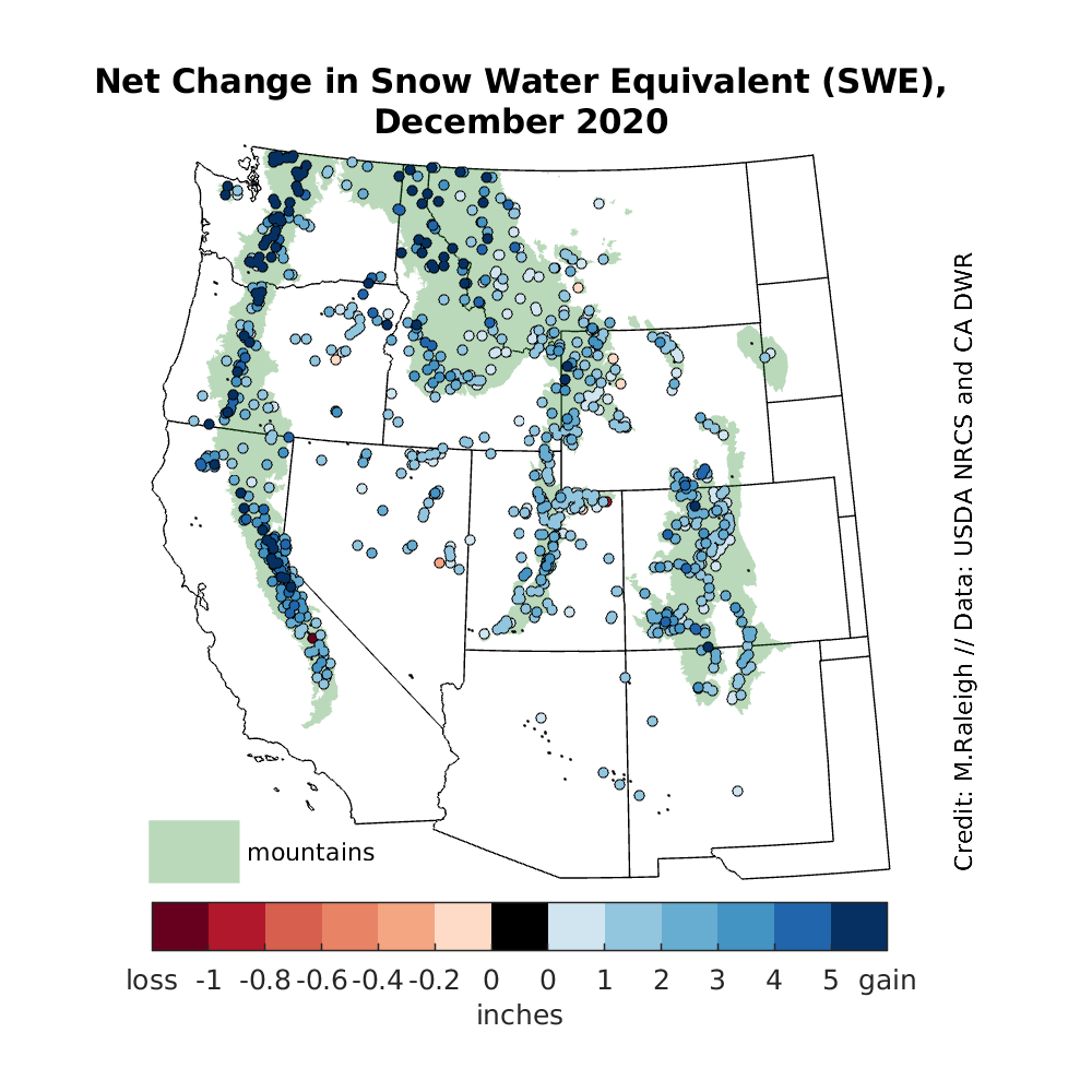 Change in snow water equivalent (SWE) for December 2020