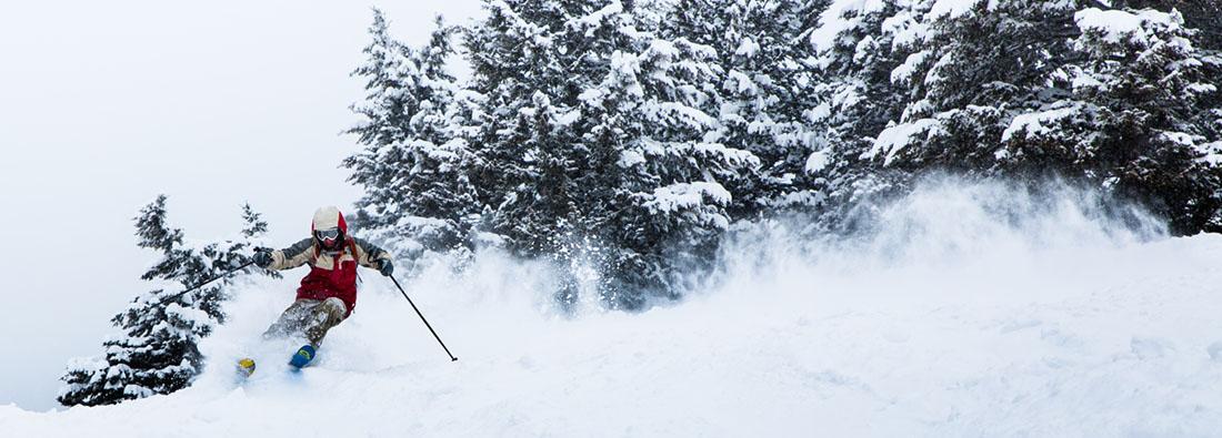 Skiing in powdery snow