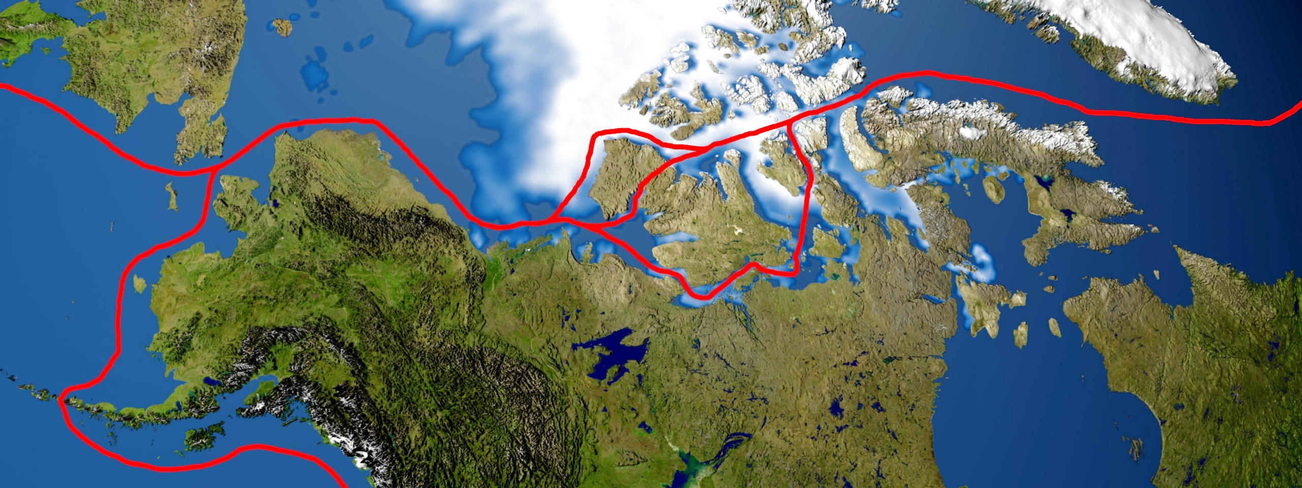 Illustration of the Northwest Passage in the Arctic Ocean