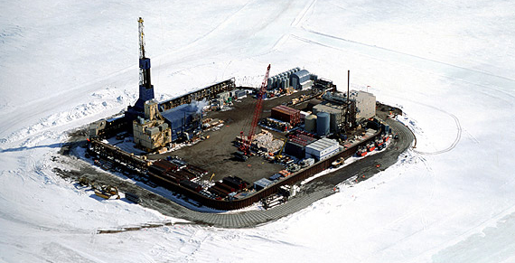 Photograph of Northstar Island, an oil drilling platform in the Arctic