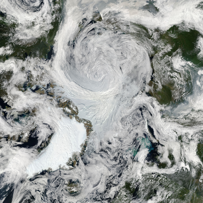 Satellite image of the 2012 Arctic cyclone