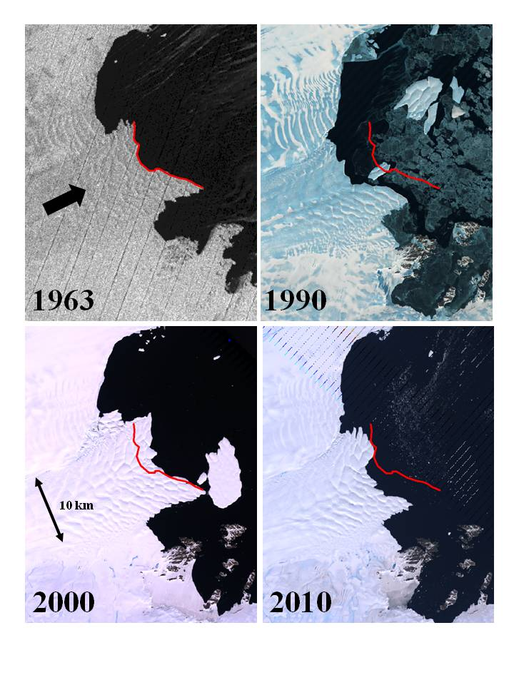 These panels show satellite imagery of the retreating and advancing Vanderford Glacier, Wilkes Land, East Antarctica. The red lines on each image mark the terminus of the glacier in 1963. The arrow in the 1963 image shows the direction of ice movement. Credit: USGS Earth Resources Observation Science Center