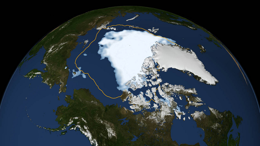 Data image showing the record low Arctic sea ice extent in 2012