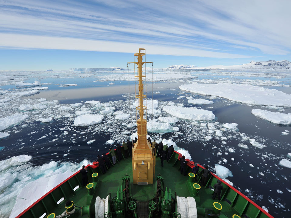 Photograph from a ship traveling through Antarctic sea ice