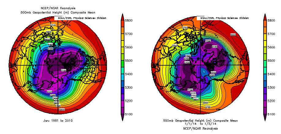 Data images showing average polar vortexes compared to the 2014 polar vortex