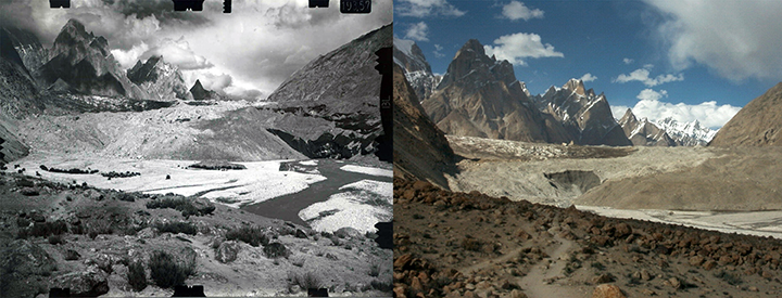 1954 and 2004 snapshot of Baltoro Glacier