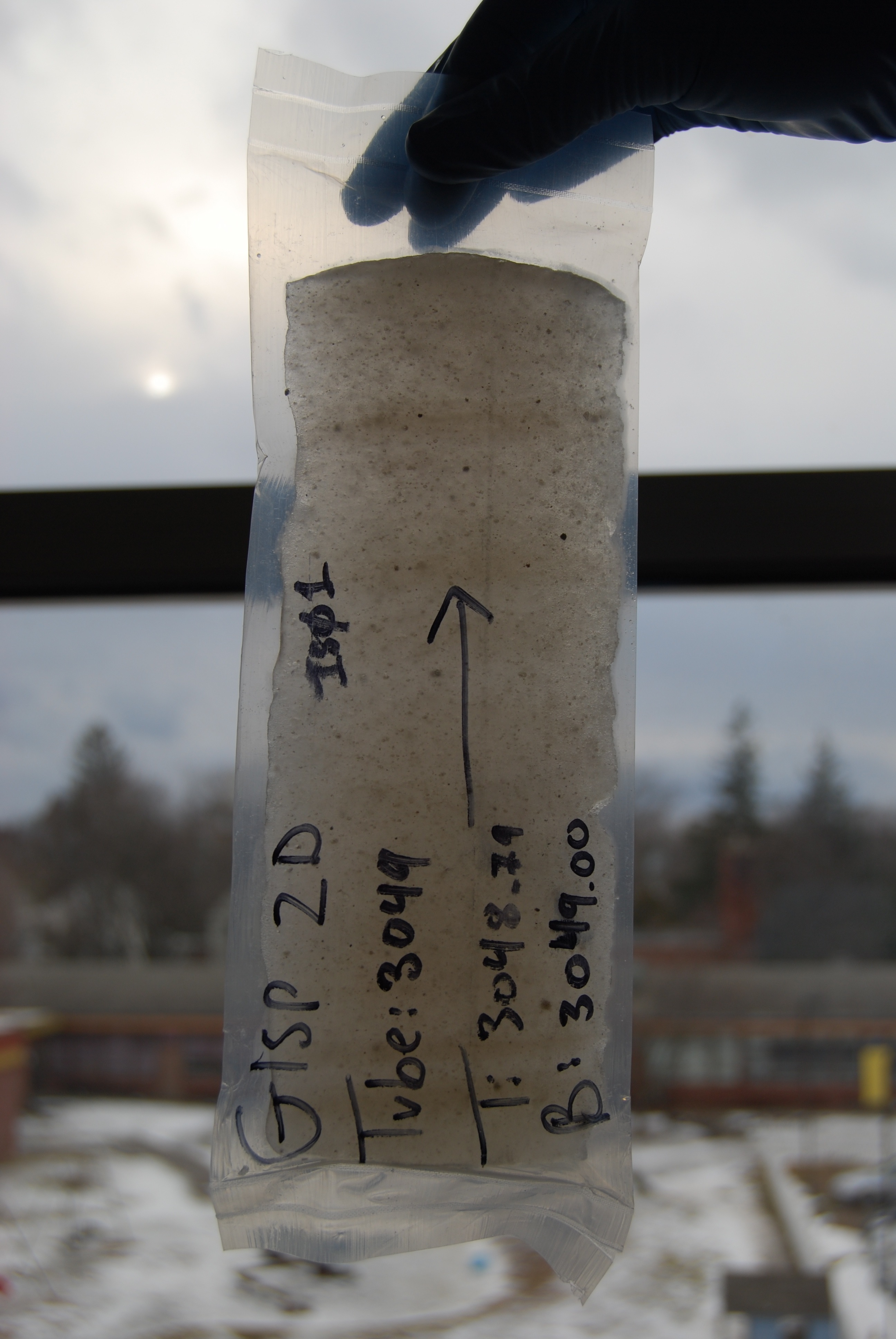 Photograph of an ice core sample from the Greenland Ice Sheet