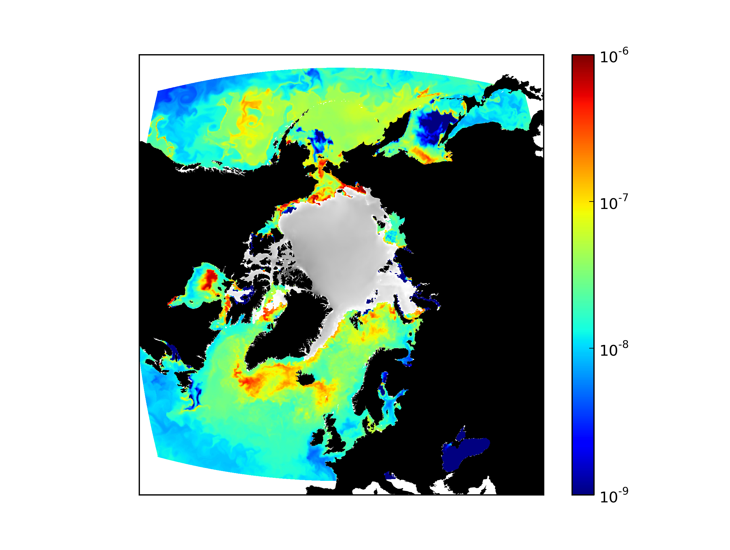 A computer model depicts Arctic primary production in color for September. Sea ice appears in grey while bright spots in some areas show very intense carbon fixation by phytoplankton. Photo credit: Oliver Jahn and Stephanie Dutkiewicz, MIT
