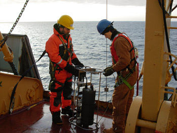Researchers collect samples
