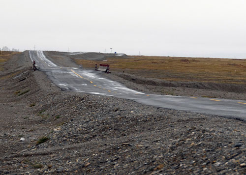 Highway damaged by uneven thawing