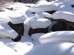 Snow pillows in Rocky Mountain National Park, CO.