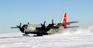 C-130 equipped with skis