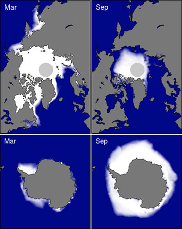 Minimum and maximum sea ice cover for the Arctic and Antarctic