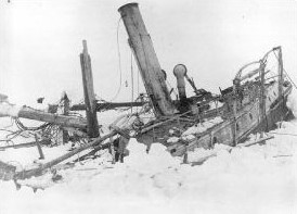 The Endurance wrecked and crushed by the ice