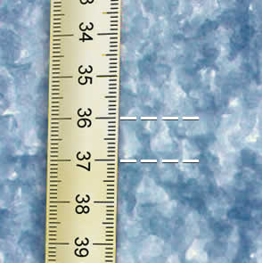 Photograph of grain size from a snow pit