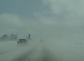 Ground blizzard in Ontario, Canada