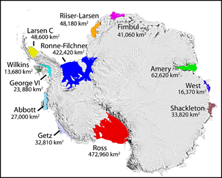 ice shelf locations in Antarctica