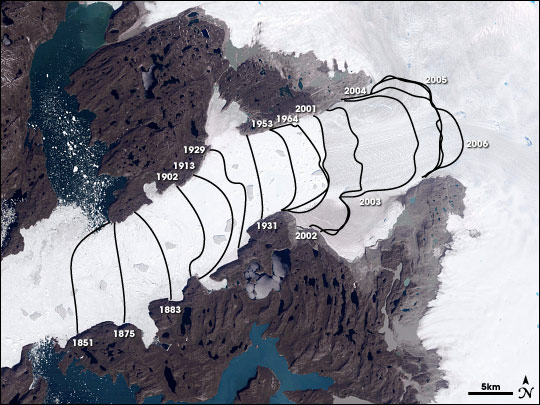 Jacobshavn Glacier retreat lines