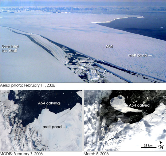 Larsen Ice Shelf and A54 iceberg