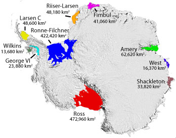 Antarctica ice shelf area map