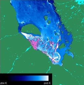 MODIS/Terra ice surface temperature map of James Bay Canada, 24 February 2000