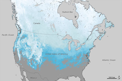 Snow cover extent over North America in 2011