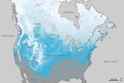Snow cover extent over North America in 2012