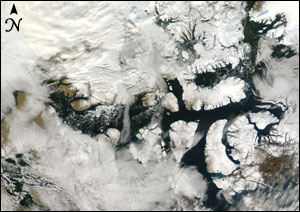 MODIS image of open Northwest Passage
