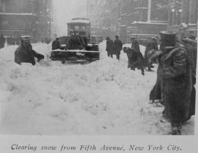 Snow shovelers clearing snow in New York City